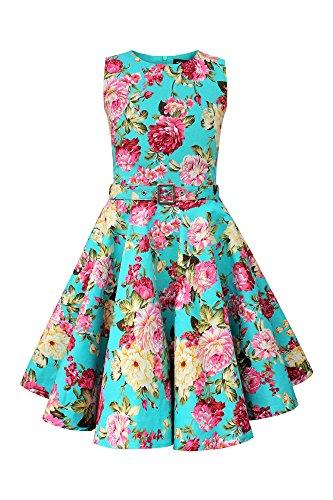 BlackButterfly Kinder 'Audrey' Vintage Divinity Kleid im 50er-J-Stil (Türkis, 13-14 J / 158-164)