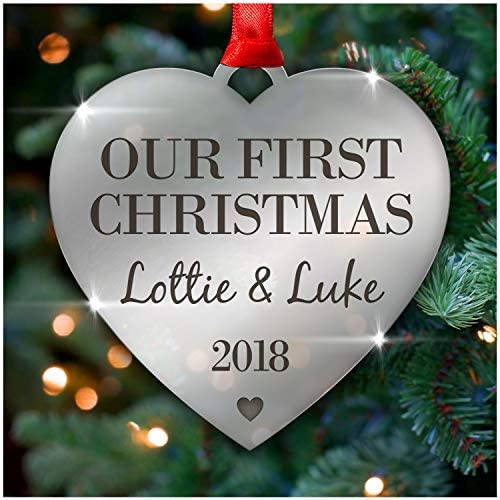 PERSONALISED Couples First Christmas Xmas Tree Decoration Bauble ...
