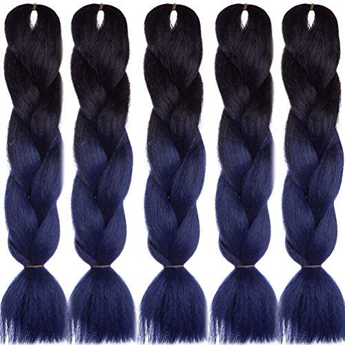 5 Bundles/pack Jumbo Braids Ombre Long Jumbo Braiding Hair Extensions Synthetic Kanekalon Jumbo Hair(6 BUNDLES/PACK, OMBRE BLACK AND NAVY BLUE)
