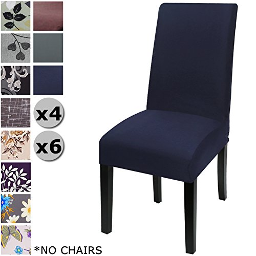 YISUN Modern Stretch Dining Chair Covers Removable Washable Spandex Slipcovers for High Chairs 4/6 PCs Chair Protective Covers (Dark Blue + Solid Pattern, 6 PCS)