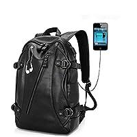shrxy piel sintética bolsa de ordenador portátil mochila escuela Colegio Bolsa de viaje portátil multifunción para hombres grandes negro