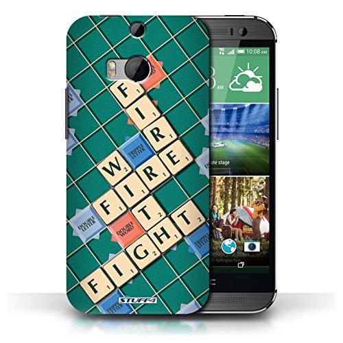 Kobalt® Imprimé Etui / Coque pour HTC One/1 M8 / Patience Vertu conception / Série Mots de Scrabble Lutte Incendie