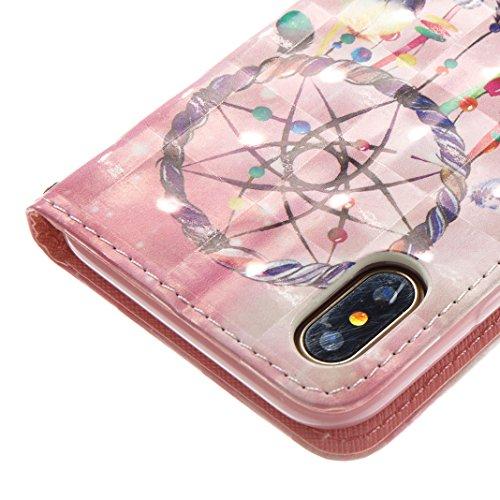 iPhone X Hülle, Asnlove Premium Leder Schutzhülle PU Leder Flip Tasche Case 3D Muster Serie Book Style mit Integrierten Kartensteckplätzen und Ständer für Apple iPhone 10 / iPhone X 5.8 Zoll 2017 - Kü Traumfänger