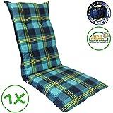 SunDeluxe Hochlehner Auflage für Gartenstühle 120x50x8cm - Premium Stuhlauflage mit Komfortschaumkern und Bezug 100% Baumwolle - Sitzauflage Made in EU / ÖkoTex100, Design:Karo Blau, Anzahl:1 Stück