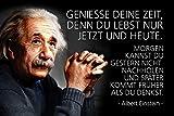 ComCard Albert Einstein–Geniesse tu tiempo, porque solo Du Lebst Ahora y Hoy. alemán Cartel de chapa, metal Sign, Tin