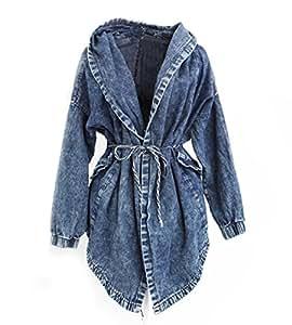 Veste en jean à capuche pour femme