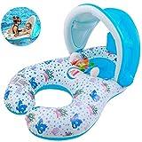 Anello di nuoto del bambino, Anello di nuoto Con tettoia parasole rimovibile Doppio anello di nuoto della piscina neonati giocattolo bambini Piscina (0-3 anni)