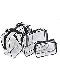 Jecxep - Juego de neceseres transparentes e impermeables, PVC