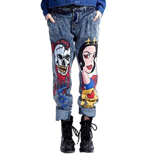 Mujer de Nieve Cowboy Calavera Impreso informal hip-hop Punk Estilo Personalidad trapezoidal en harén pantalones vaqueros Pantalones