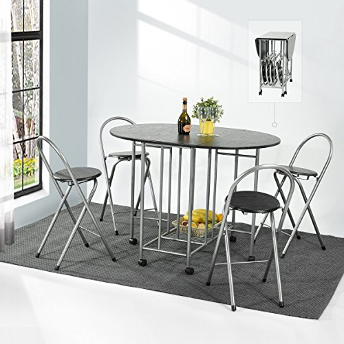 Folding Drop Leaf Table And Chairs Set Lillyarn 5 Pcs Butterfly Kitchen  Dining Space Saving Table And 4 Chairs