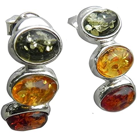 Genuine Baltic Amber Stud Earrings - Triple Amber Ovals - 925 Sterling Silver...