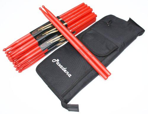 12 Paar Drumsticks 5B Rot (24 Stück) + dicke Tasche