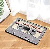 FREEZGTZ Gris Vintage Entrada Antideslizante Felpudo Cinta De Cassettes Magnética Cinta De Mezcla Alfombras Alfombras Dormitorio Alfombras Decorativas Esteras