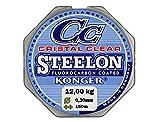 Ligne de pêche KONGER - Revêtue de fluorocarbone 0,12-0,50 mm / 150 m - Avec monofilament - Extrêmement robuste-, Transparent, 0,30mm / 12,00kg