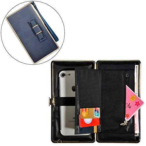 Portafogli da Donna Borsa con Diamante Bowknot Modello, Bonice Multifunzionale [Grande Capacità] Smartphone Wristlet Custodia Case Cover per Samsung Galaxy S8/S8 Plus/S7edge/S7/S6/S6 Edge/S6 Edge Plus Elegant-Cover-37