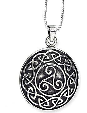 Anhänger keltische Triskele Relief Dreierwirbel 925er Silber Schmuck – Schutzamulett – mit Kette Halskette Silberkette...