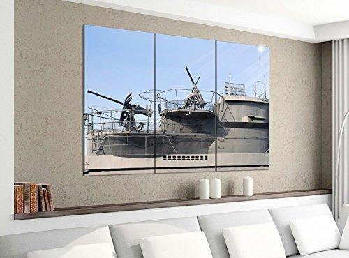 Leinwandbild 3tlg 120cmx100cm Uboot U Boot Waffe Schiff 2. Weltkrieg Bilder Druck auf Leinwand Bild Kunstdruck mehrteilig Holz 9YA3545, 3 Tlg 120x100cm:3 Tlg 120x100cm -