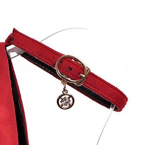 Voguezone009 Femmes Haut Talon En Plastique Pur Boucle Ronde Bout Fermé Orteil Ballerines Rouges