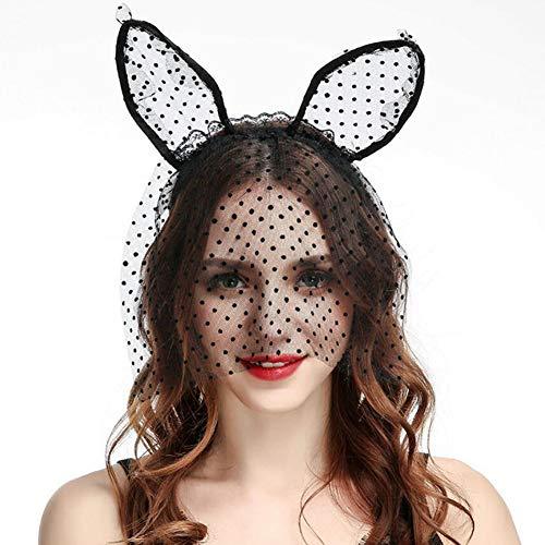 Danolt Frauen Vintage Spitze Katze Ohren Haarbänder Sexy Maske für Halloween Festival Bankett Cocktail Party Kostüm ()