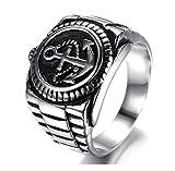 SanJiu Schmuck Herren Ringe Edelstahl Ring Anker Muster Retro Gotik Biker Punk Klassisch Ring für Herren Silber Schwarz Größe 57 (18.1)