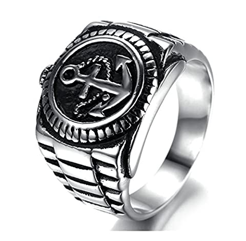 SanJiu Jewelry Stainless Steel Men's Ring Biker Punk Rcoker Classic Anchor Ring Gothic Ring for Men Silver Black Size T 1/2