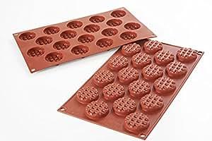 silikomart 26.143.00.0067 SF 143 Moule Forme Mini Gaufres Rond Silicone Rouge Brique 17,5 x 31 x 1 cm