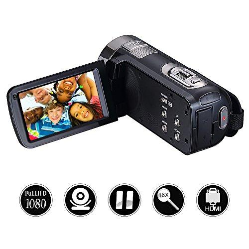 Camcorder Videokamera Full HD 1080p 24.0MP Digitalkamera 3.0 Zoll 270 Grad drehbarer Bildschirm Video Recorder Pause Funktion mit Fernbedienung