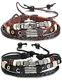 Sailimue Braided Leather Bracelet for Men Cuff Bracelet 7.6-11 Inches