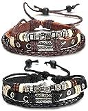 Sailimue 2 PCS Leder Charme Armband für Herren Geflochtene Handwerklich ,verstellbar 19-28CM…