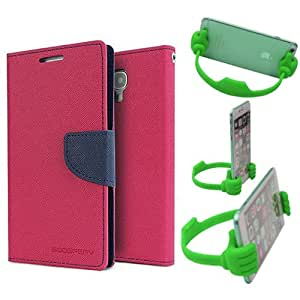 Aart Fancy Diary Card Wallet Flip Case Back Cover For Mircomax E311 - (Pink) + Flexible Portable Mount Cradle Thumb Ok Stand Holder By Aart store