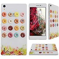Asnlove Per Huawei Ascend P7 Custodia Gel TPU Silicone Gomma Slim Cover di Mobile-Ciambelle e (Black Cherry Chitarra)
