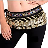 Fancydresswale Belly Dance Hip Scarf Waist Belt with Gold Coins for Women and Girls (Premium Black)