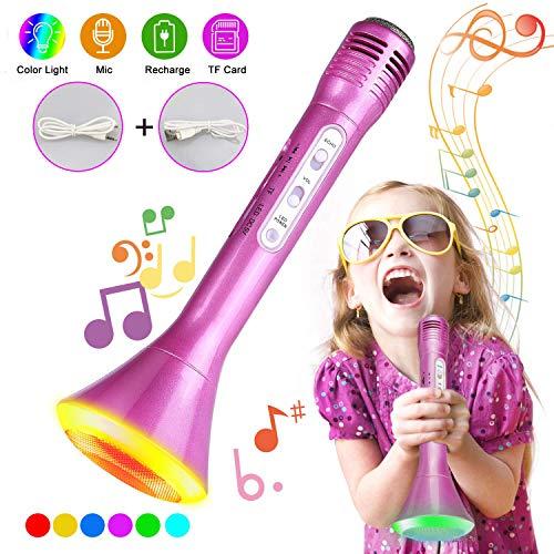 Karaoke Mikrofon Kinder, Tencoz Bluetooth Portable Mikrofon mit Lautsprecher für Sprach und Gesangsaufnahmen, LED Licht Lautsprecher kompatibel mit Android/IOS