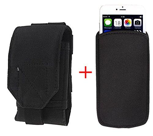 xhorizon® Beutel Hülle Combo [Taktische Molle] [Elastische Neopren] Für iPhone 6 Plus 5.5 Zoll Haken SchleifeGürtelholster Case Hülle Schwarz