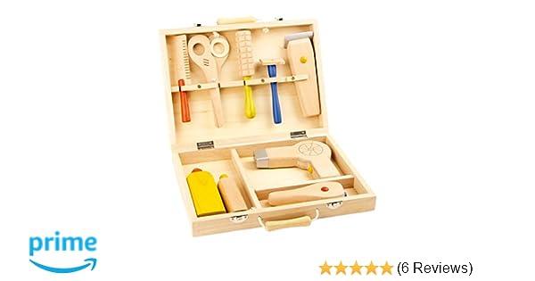 Frisierkoffer aus Holz, 10-tlg. Set mit Kamm, Rundbürste, Schere ...