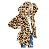 Damen Winterjacke, Rovinci Winter Teddy-Fleece Mantel Lange Leopard Print Plüschjacke mit Kapuze Loose Fit Fleece Cardigan Pullover Kapuzenjacke Kapuzenpullover Hoodies Frau Wintermantel Warm Outwear