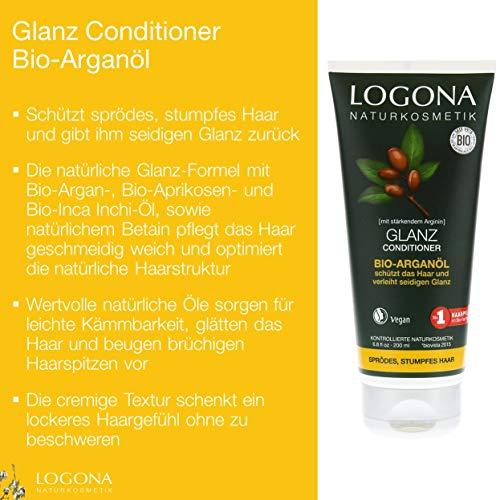 LOGONA Naturkosmetik Glanz Conditioner Bio-Arganöl, Schützt sprödes, stumpfes Haar und gibt seidigen Glanz, Wertvolle Öle, Vegan, 200ml