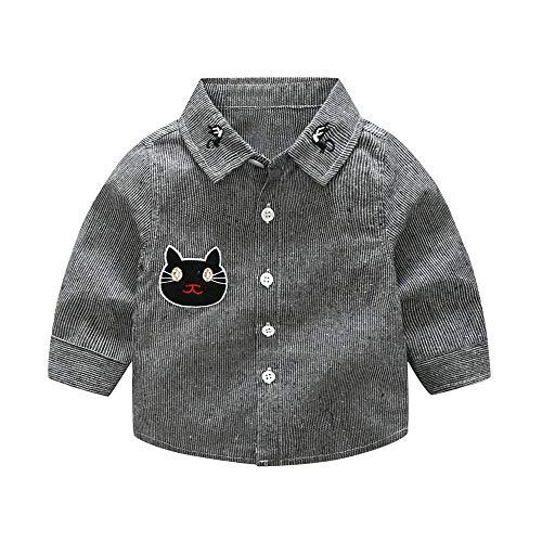 feiXIANG Baby Jungen Hemd Stickerei Cartoon Katze gestreiftes Party Top Shirt Langarm für Kinder 6 Monate - 3 Jahre(Grau,80) -