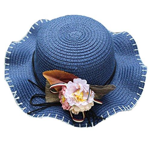Berretto con visiera per bambino e bambina,BYSTE Fiore Bordo ondulato traspirante Cappello di paglia, Cappello da sole estivo Cappello Panama Tesa Larga Berretto da Spiaggia per 2-6 Anni (Blu)