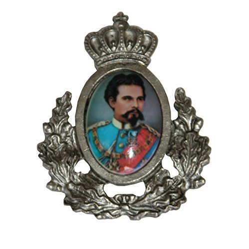 Hutanstecker | Hutabzeichen | Hutschmuck | Anstecker - König Ludwig II - 3 x 3,5 cm - mit Ehrenkranz