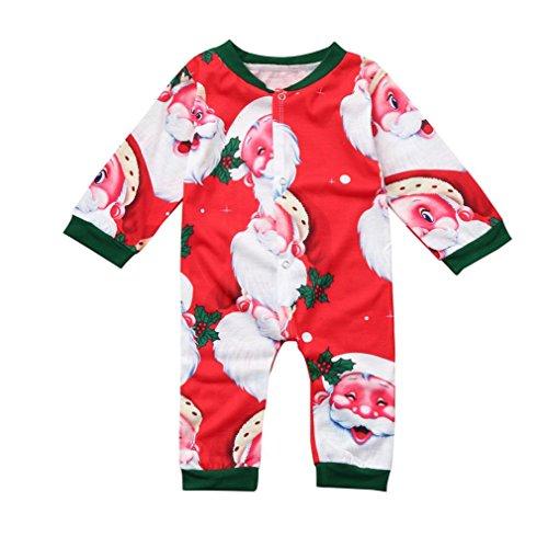 Kindermode Winteranzug Hirolan Neugeboren Lange Ärmel Spielanzug Kinder Baby Jungen Mädchen Weihnachten Overall Babykleidung Sankt Klaus Drucken Outfit (70, Rot)