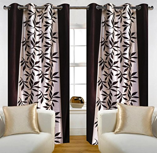 Home Candy Leave 2 Piece Polyester Window Curtain Set - 60
