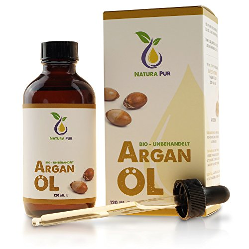 Natura Pur Bio Arganöl 120ml, ohne Silikon - 100% nativ, kaltgepresst, vegan - Anti-Aging Serum für Gesicht, Anti-Falten, Körper, Haare, Haut, Hände, Nägel - Argan Öl aus Marokko