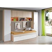 Dormitorio juvenil completo color arce, blanco y naranja: cama nido 90x190cm + 2 armarios altos + estantería puente 4 puertas + 2 estantes de pared