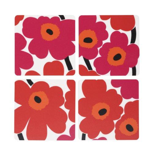 marimekko-unikko-red-set-of-4-coasters-9-by-9-cm-by-marimekko