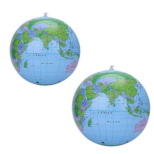 Centtechi 2 Stück Aufblasbarer Globus, PVC Inflatable Globe Weltkugel 40cm Wasserball Spielzeug für Pädagogisches und Spielen