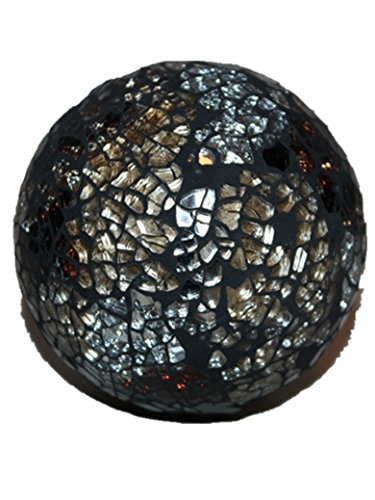 DECORATIVES PARKLING CRACKLE GLASS MOSAIC GLOBE BALL ORNAMENT (9CM 10CM 11CM) (BLACK/SILVER, 11CM)