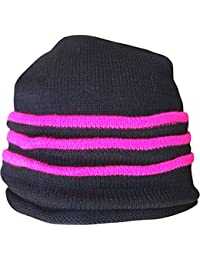 Teenagers & Youths Black Fluorescent Neon Stripes Design Thermal Slouch Beanie Hat