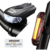 RUBY LITE Bike Light Set, USB Rechargeable LED -Premium Quality - Powerful 400 Lumen Front Headlight & 100 LM Tail Light- Bicycle Lights for Road & Mountain -Water Resistant-Smart Sensor- Cycle lights