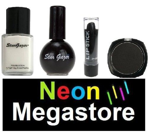 Stargazer Halloween-Make-up-Set, schwarz, Gothic-Set, mit weißerFlüssig-Foundation/schwarzem Nagellack/schwarzem Lidschatten & Schwarzem Lippenstift -